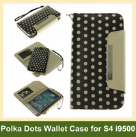 Wholesale Galaxy S4 Polka Dots - Wholesale Handbag Case for i9500 2 in 1 Separable Polka Dots Leather Flip Wallet Case for Samsung Galaxy S4 i9500 Free Shipping