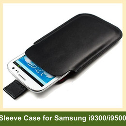 Wholesale S4 Sleeve - Wholesale Genuine Leather Sleeve Case with Pulling Cord for Samsung Galaxy s3 i9300 s4 i9500 Free Shipping