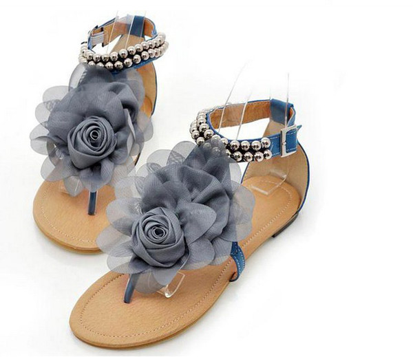 Fashion Girl Sandals Beautiful Flower Summer Shoes Girl Anti Slipping Sandal Shoes -8043