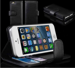 Wholesale Iphone 5g Skin Cover - Wallet Leather Folio Case Skin Cover Pouch Holster for Apple Iphone 5 5G Black Red Pink White Low