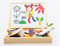 Wholesale Double Sided Blackboard - Toy Multifunctional Magnetic Puzzle Wooden Baby Writing Board Oppssed Double-sided Blackboard Christmas Gift Drawing Board Fancy Jigsaw