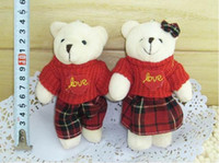 Wholesale Teddy Bear Couple Stuffed Animals - Free Shipping,Stuffed&Plush Animals, Cute Bear couple,12cm,Red Color ,Kids Toys, Happy Marriage  New