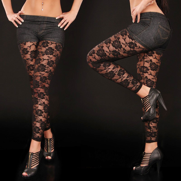 Free Shiping Sexy Leggings For Womens Vintage Lace Leggings Floarl ...