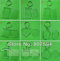 Wholesale Square Digital Photo Frame - 100pcs lot Blank Acrylic Keychains Insert Photo plastic Keyrings Square Key Rectangle Heart Circular Transparent Key Chain