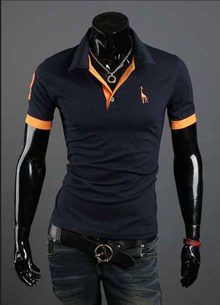 best selling 2015 new Polo Shirt For Men Luxury Casual Slim Fit Stylish Short-Sleeve Cotton T-shirt 6 Colors