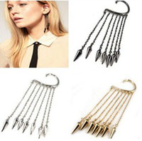 Wholesale Ear Hook Punk - 24pcs Free Shipping wholesale Fashion Punk Ear Cuff tassels metal Rivent earrings Ear Clip Bullet hook Earring