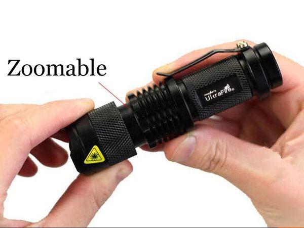 Nueva marca Ultrafire 300LM CREE Q5 LED Linterna para camping 3-Mode Antorcha Foco ajustable Zoom Linternas a prueba de agua Lámpara