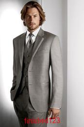 Bm Jackets Canada - Custom design Light gray Two buttons Notch Lapel Groom Tuxedos Groomsmen Men Wedding Suits Prom Clothing (jacket+pants+waistcoat+tie) BM:477