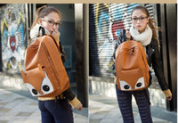 Wholesale Backpack Faux Leather - Girl Fox Pattern Faux Leather Book Backpack Travel Schoolbag Knapsack Bags[1111-001]