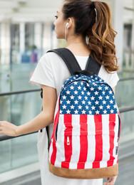 Wholesale Teenagers School Bags Uk - Unisex Canvas Backpack Teenager School Bag Book Campus Backpack Bags UK US Flag Wholesale Retail Dro