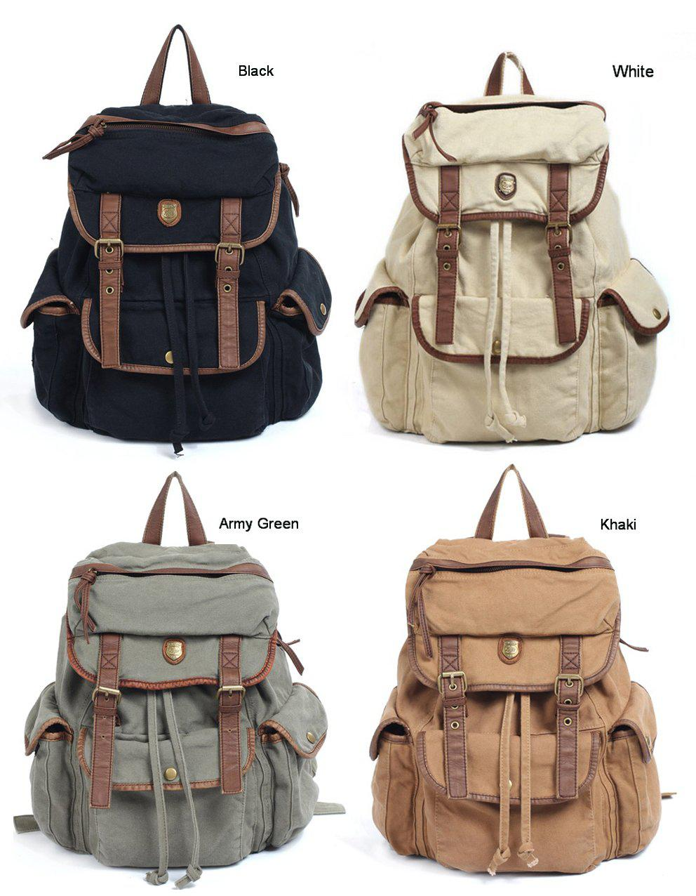 Well-liked BBZ8 Thick Washed Canvas Leather Backpack Men Women Girl's Leisure  LQ76