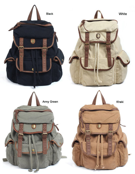 BBZ8 Thick Washed Canvas Leather Backpack Men Women girl's leisure Tote Handbag 4 colors Shoulders b