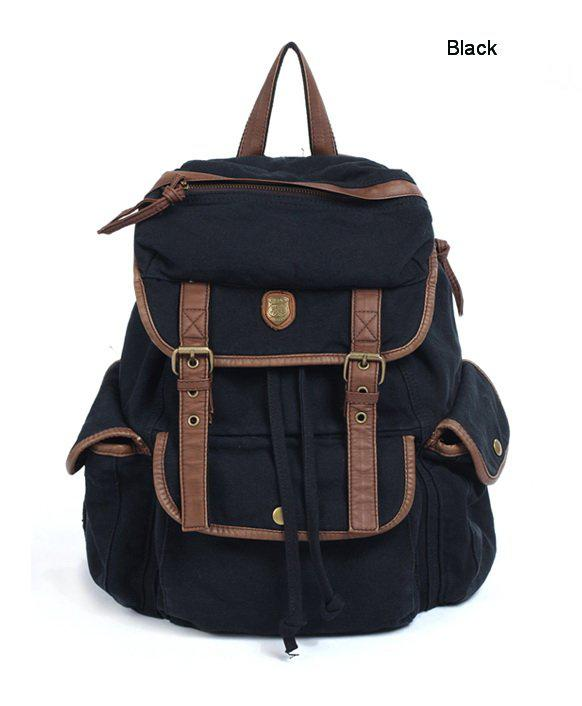 BBZ8 Thick Washed Canvas Leather Backpack Men Women girl's leisure Tote Handbag Shoulders b