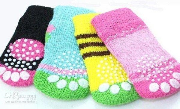 best selling Free shipping mix Size S M L color Fashion Design pet Dog Socks 80pcs lot=20sets lot Hot sales
