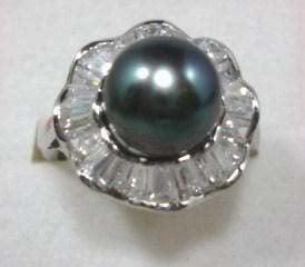 Anillo de cristal con cuentas de perlas de concha de 12 mm en color negro del Sur del Mar 7 8 9