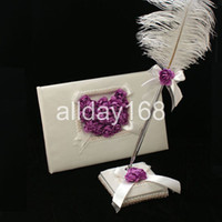 Wholesale Pens Favors - Wedding Favors Wedding Party purple rose love heart design Wedding Guest Books & Pen Sets