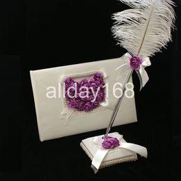 Wholesale Pens Hearts - Wedding Favors Wedding Party purple rose love heart design Wedding Guest Books & Pen Sets