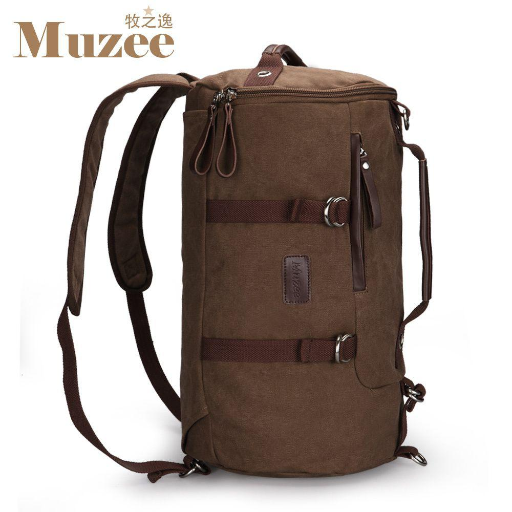 New Canvas Male Backpack Travel Bag Backpack Circle Bucket Luggage ...