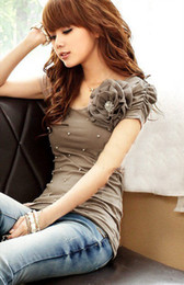 Elegantes blusas de algodón online-Camiseta superior de la blusa del algodón del nuevo estilo caliente de la venta, camiseta de manga corta elegante Colores: blanco, rosado, verde, marrón Envío libre