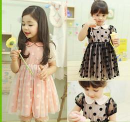 Wholesale Dress Polka Dot Pink Girls - 2016 Girls Pearl Collar Dress Children Clothing Fashion Polka Dot Princess Dress Short Sleeve Dresses Kids Summer Dress Child Lace Dresses