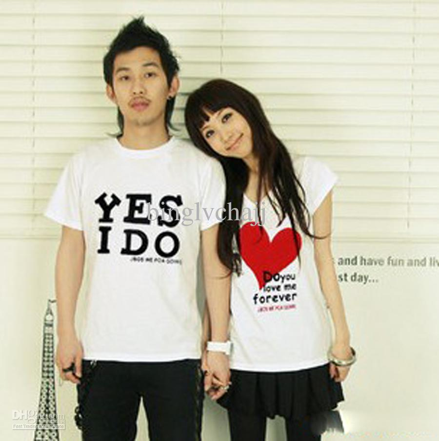 Design t shirt couple - Men Women Couple 2013 Tops T Shirt Summer Fashion Casual Clothes Brand Designer Printed Cartoon Heart Amp Character For Lovers T096 T Shirt On Shirt Online