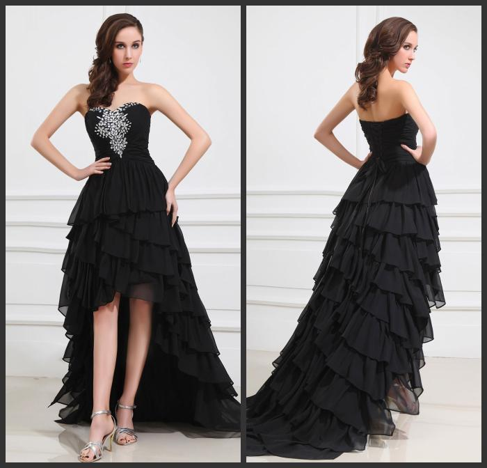 Promotion Black High Low Prom Dresses Tiered Beads Sweetheart Front