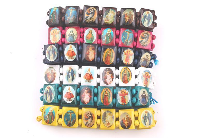 verse kleuren heiligen Jesus polsband religieuze hout katholieke pictogram armband