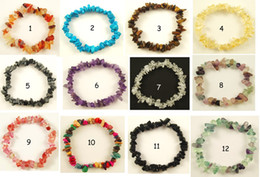 Wholesale Gemstone Beaded Bracelet - GEMSTONE Crystal Chip Beaded Stretch BRACELETS 36pcs