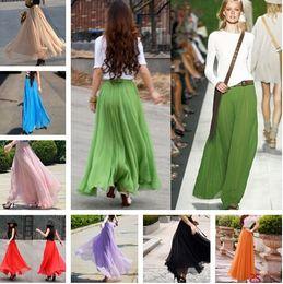 5ad4c437b724 2018 Hot Skirts Fashion Chiffon Women Dress Bohemian Beach Skirt Long Maxi  Girl skirt Sexy Ladies Elegant Club Party Prom Dress 16 Colors
