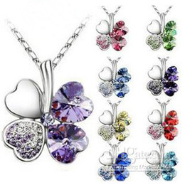 Wholesale Petal Flower Necklace - 925 Silver Chain Crystal Heart Rhinestone Petal Flower Necklaces Fashion Clover Necklace 8 Colors Option hot sell