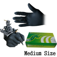 Wholesale Disposable Latex Gloves Tattoo - 100Pcs 50Pairs Disposable Tattoo Latex Black Gloves M Size For Tattoo Gun Needles Ink Tips Grips Kits