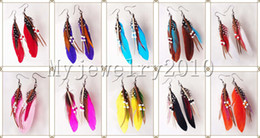 Wholesale Cheap Feathered Earrings - Fashion Indian Bohemian feather earrings 10cm multicolor 24pairs mix cheap