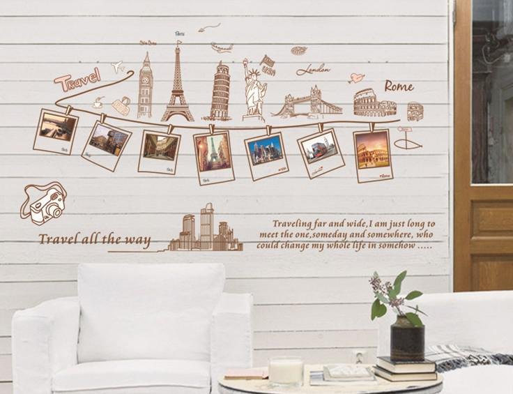 Wholesale Removable Self Adhesive Wall Stickers Global Travel Wall Art  Stickers Living Room Wall Decor 60x90cm