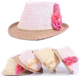 Wholesale Girl Fedora Hat Pink - Baby Flower Caps Baby Hat Kids Straw Fedora Hat Girls Sun Hat Children Summer Hat Jazz Cap