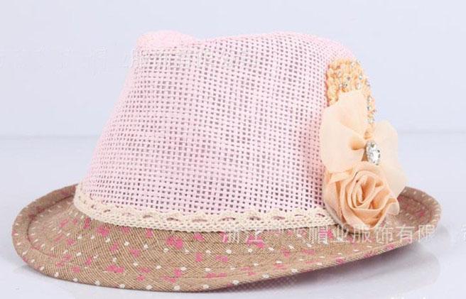 2013 Baby Flower Caps Baby Hat Bambini Cappello di paglia Fedora Cappello da sole bambini Cappello estivo Cap Jazz