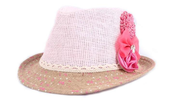 2013 베이비 플라워 모자 아기 모자 키즈 짚 페도라 모자 소녀 선글라스 어린이 여름 모자 재즈 캡