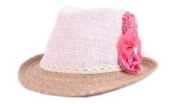 Christmas Visor Canada - Lowest 2013 Baby Flower Caps Baby Hat Kids Straw Fedora Hat Girls Sun Hat Children Summer Hat Jazz Cap