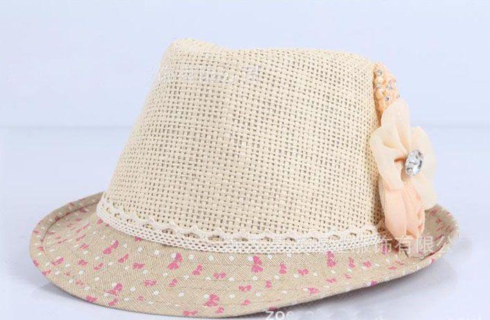 2013 baby bloem caps baby hoed kinderen stro fedora hoed meisjes zon hoed kinderen zomer hoed jazz cap