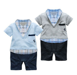 Wholesale Baby Boy Summer Formal Suit - Baby Boys Kids Toddlers Short Sleeved Plaid Formal Suit Tuxedo Set Romper Pants 9-24M One-piece Outfits Jumpsuits SZ 80-90-95 8083