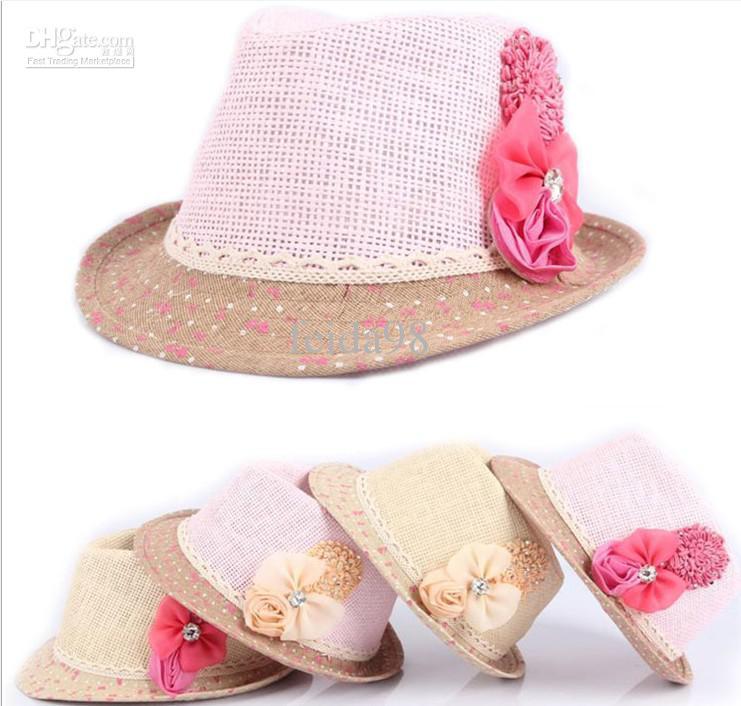 Menor 2013 bebê tampas de flores chapéu do bebê crianças chapéu de palha fedora meninas chapéu de sol crianças chapéu de verão cap jazz