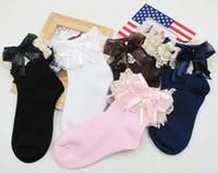 Wholesale Girl Socks Ribbons - Girls Ribbon Bow Lace Fairy Socks Baby Girls Ankle Socks Children Lovely Lace Socks Infant Fashion Cotton Socks 7928
