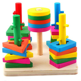 Wholesale Intelligence Games Kids - 2013 New Kids Five Columns Educational Blocks Game Tool Colourful Wooden Toy Christmas Gift Intelligence Blocks