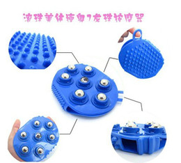 Wholesale Steel Ball Massage - New Arrival! Steel ball massage brush Body Massage Glove Multi-function 360 Degree rotation 7 Piece