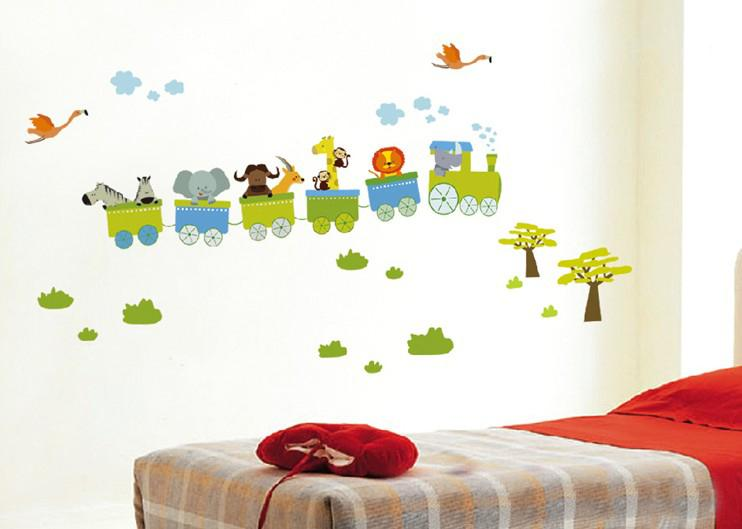 Train Wall Decor hot sale removable animal train wall stickers nursery wall
