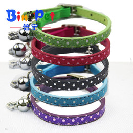 Wholesale Dog Bling Charms - Free Shipping Bling Heart Polka dots Pet Puppy Dog Cat Collar with Safety Elastic Belt & Bell & Heart Pendant 5 Colors Assorted