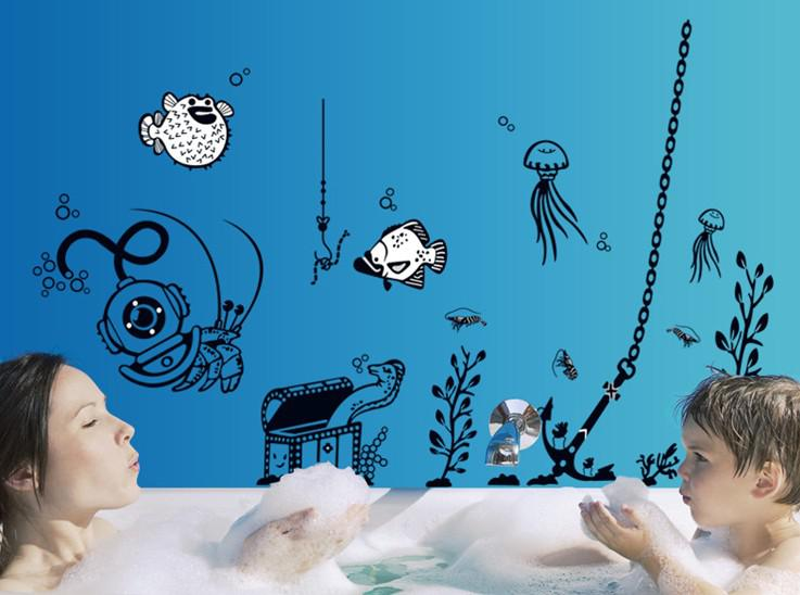 Wholesale Removable Wall Stickers Underwater World Wall Art Stickers  Bathroom Wall Decor