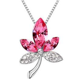 Wholesale Gold 13 Pendant - 13 colors Maple Leaf Austrian Crystal Pendant Necklace women necklace Free Shipping