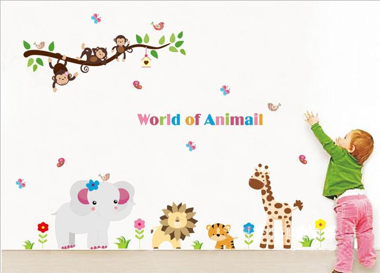 Beautiful Kids Wall Stickers Part - 11: Wholesale Removable Kids Wall Stickers World Of Animals Wall Art Stickers  Nursery Wall Decor Hot Sale