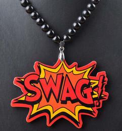 Wholesale Hip Hop Beaded Acrylic Necklaces - SWAG acrylic Necklace Hip hop Pendants good Qualities Beaded rosary jewelry