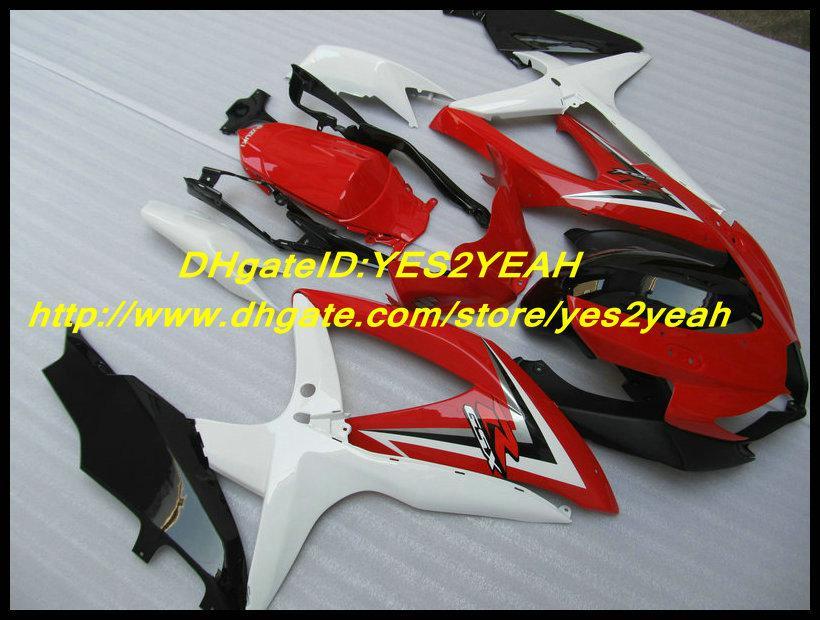 Kit de corpo de carenagem de injeção preto vermelho para SUZUKI GSXR 600 750 K8 2008 2009 carroçaria GSXR600 GSXR750 08 09 carenagens conjunto